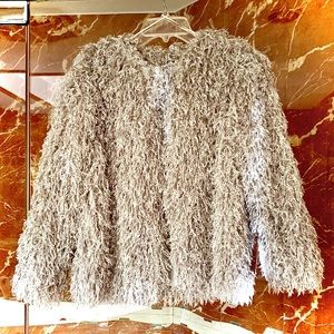 Zara Women's Silver Shaggy Jacket Size Small
